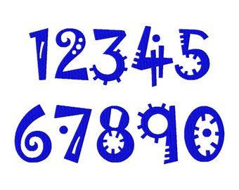Numbers Embroidery Design,  Jokerman font numbers 0 through 9, 3in and 4in, BX, #339