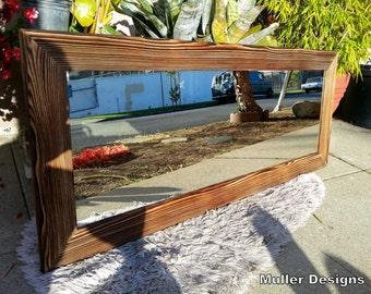 wood mirror, wall mirror,   rustic mirror