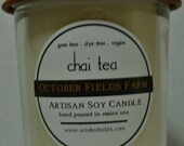 Vegan Soy Candle Jar - Chai Tea: spicy green tea with cinnamon, nutmeg, and fresh cream / Maine Made / no GMO / Dye Free / Phthalate Free