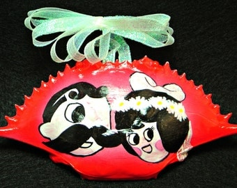 "Hand painted blue crab shell ""Natty Boh & Ms Utz Wed"""