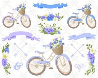 Digital Bicycle Clip Art Blue Wedding Floral ClipArt Blue Purple Floral Bicycle Blue Floral Bike Blue Purple Flower Purple Blue Banner 0125