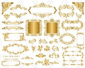 Gold Digital Flourish Swirl Frame Clip Art Digital Frame ClipArt Scrapbook Decoration Embellishment Gold Frame Clip Art Gold Flourish 0134