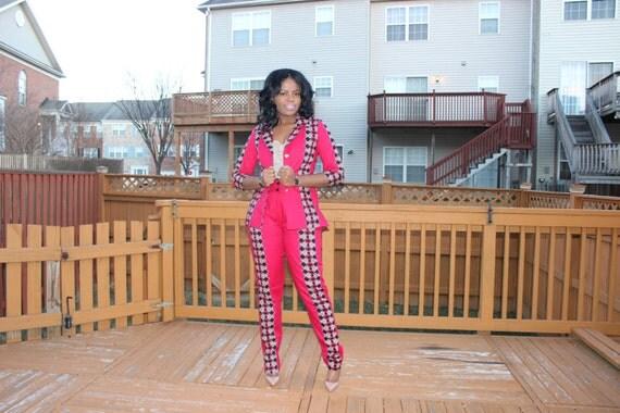 articles similaires le amina veste et pantalon rouge noir africain impression top pantalon. Black Bedroom Furniture Sets. Home Design Ideas