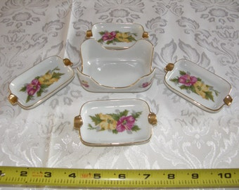 VINTAGE Set Of 4 Porcelain Iidividual Floral Ashtrays With Matching Holder