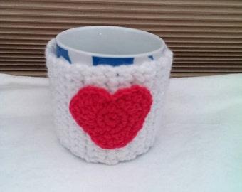 White and Red Heart Mug Cozy/Mug Hug