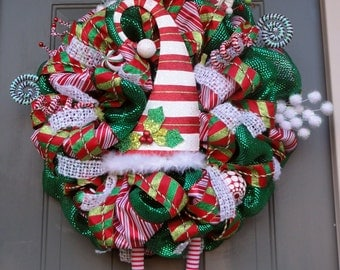 Whimsical Elf Christmas Wreath, Elf Legs and Hat Wreath, Christmas Wreath, Winter Wreath