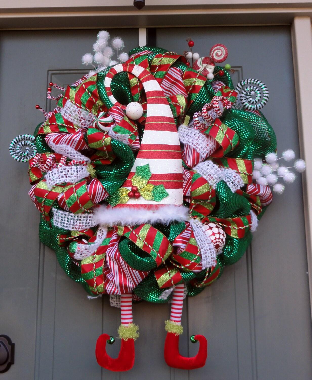 Whimsical Elf Christmas Wreath Elf Legs And Hat Wreath