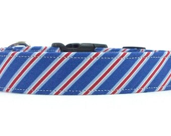 Red, White, and Blue Diagonal Stripes Dog Collar