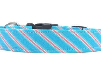 Preppy Blue Diagonal Striped Dog Collar