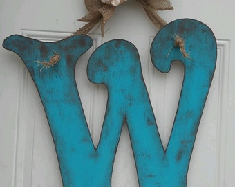 Hand Cut Wooden Initial Door Hanger *Any color Available!!