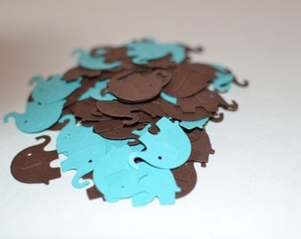 Elephant Confetti, Baby Shower Confetti, Aqua and Brown Party Confetti
