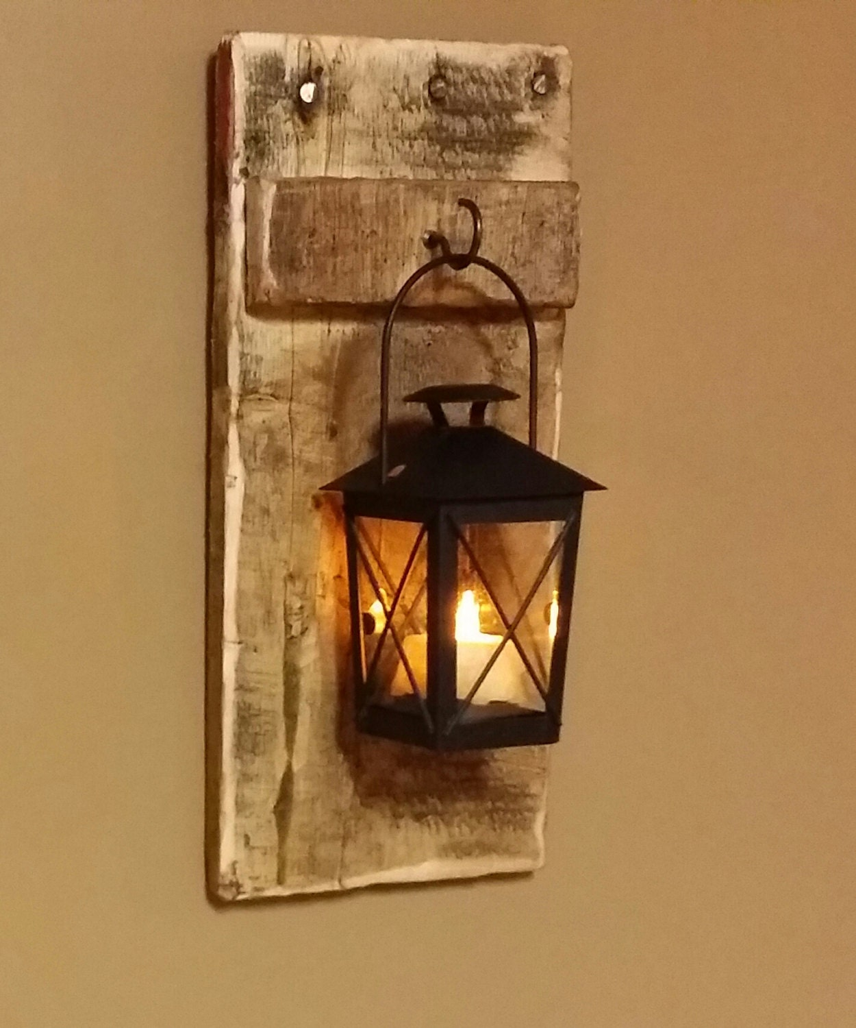 Rustic wood lantern candle holder 12 x 5 wood for Rustic wood candle holders