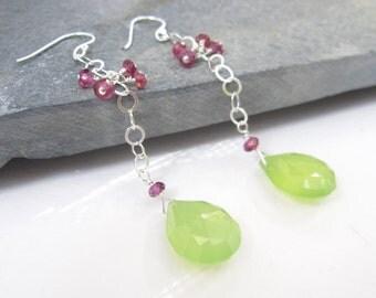 Lime Teardrop Earrings, Large Briolettes, Dangle Earrings, Bright Green Chalcedony