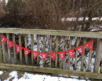 "Valentine's day ""I Love You"" reversible triangle fabric banner"