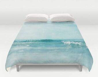 duvet cover,  queen duvet, king duvet, full double duvet cover, sea ocean water waves blue mint aquamarine nautical zen dreamy