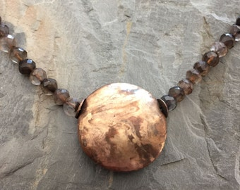 Copper and Bronze Metal Clay Lentil Bead