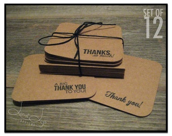 3x3 Thank You Cards with Envelopes (set of 12), stamped kraft