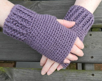 Crocheted FIngerless Gloves in Light Purple