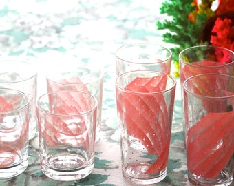 Vintage 1980's Pink Patterned Retro Tumbler and Highball glasses (8)