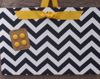 "Magnetic Board (24"" x 18"") Fabric magnet board Bulletin board Navy blue and white chevron Yellow Blue and gold Magnetic board Dorm room"