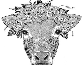 A3 poster with a cow print. Great gift! For your home or cottage.