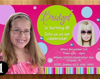 Personalized Barbie Birthday Invitation - You Print - Free Matching Thank You