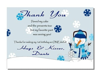 Winter Wonderland Thank You Card Birthday Party - DIGITAL or PRINTED