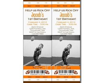 Football Ticket Invitation All Star MVP Birthday Party Orange and Brown - Digital File
