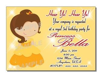 Princess Invitation Birthday Party - DIGITAL or PRINTED