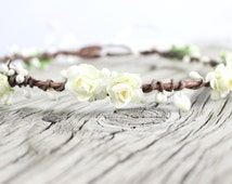 Ivory Flower crown Wedding Flower Crown Boho Wedding floral crown halo Bridal flower Crown Hair Wreath woodland headwreath wedding garland