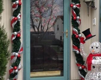 Christmas Door Garland, FREE Wreath, Full Door 18ft Mesh Lighted Indoor,  Outdoor,