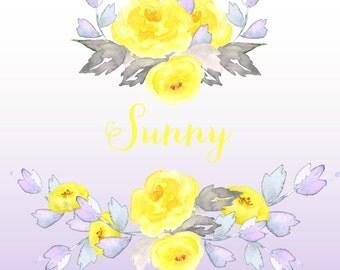 Sunny wedding clipart. Digital Watercolours clipart hand drawn. Sunny. Romantic wedding, tender, bright, flowers  cards, invitations