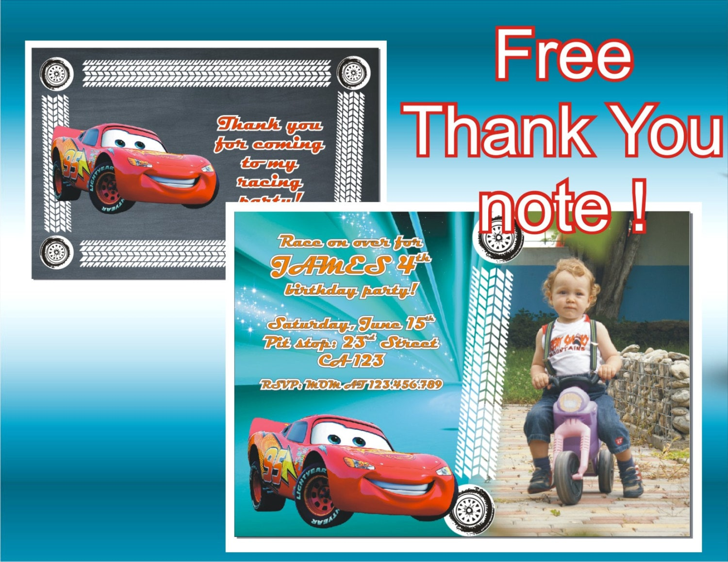 disney cars photo invitation thank you note printable invitation lightning mcqueen 🔎zoom