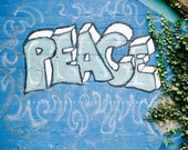 "Peace, graffiti art, inspirational photo, modern, wall art, motivation and encouragement - 16x16, 12x12, 8x8 or 5x5 photograph, ""Peace"""