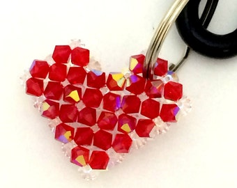 Heart Keyring / Red Keychain / Swarovski Keychain / Keyring / Red Heart / Beaded Keychain / swarovski crystal keyring
