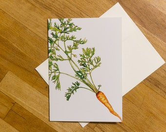 Carrot Greeting Card 5x7 Blank Greeting Card, Botanical Print, Thank You Card,