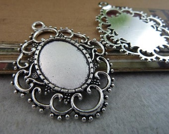 10pcs 17x24mm Antique Silver Round Bezel Cup setting Pendant Trays Wholesale BC6523