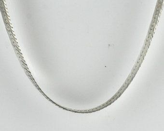 Vintage Sterling Silver Rectangles, Unique Herringbone  Necklace 4.2g U6028