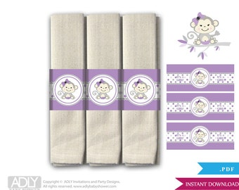 Girl Monkey Napkin Ring Label Printable for Baby Monkey Shower DIY Grey Purple-aa46bs9