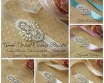 Prom Bracelet,Wedding Wrist Corsage,Rhinestone Corsage,Beaded Corsage,Prom Wrist Corsage,Prom Cuff,Wrist Corsage Bracelet,Pearl Bridal Cuff