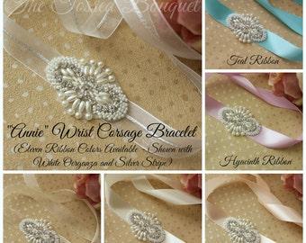Prom Bracelet, Rhinestone, Pearl, Wrist Corsage, Wedding, Bridal, Applique, Beaded Corsage, Prom, Corsage Bracelet, Bridal Cuff, Bridesmaid