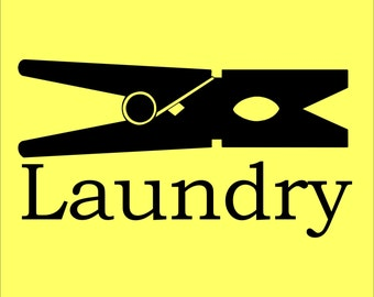 Laundry Wall Decal - Wall Art - Vinyl Decal - Laundry Wall Word Decal - Word Art - Clothespin Decal