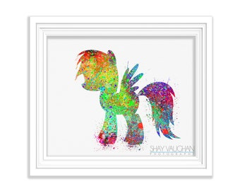 My Little Pony Art Print, Watercolor Art,  Illustration, My Little Pony Poster, Nursery Decor, Painting, Child's Room Art, Horse  (No.126)