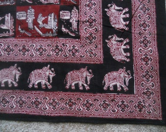 Beautiful mid century hand printed textile from India:  1960s