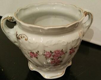 Royal Dux Bohemia Czechoslovakia Vase White With Pink Roses