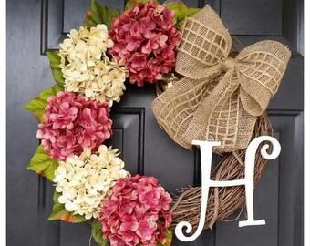 HYDRANGEA Wreath, Wreath for Door, Door Wreath, Pink Hydrangea Wreath