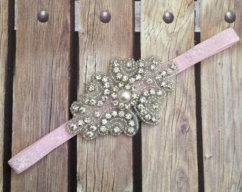 Rhinestone headband, pink headband, flower girl headband, wedding headband, dressy headband, formal headband, halo, baby headband,