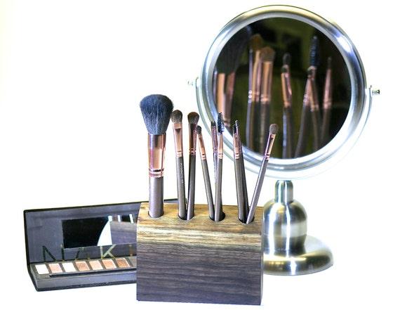 Walnut Wood Cosmetic Brush Holder Makeup Organizer Vanity