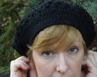 Crocheted Black Wool Beret