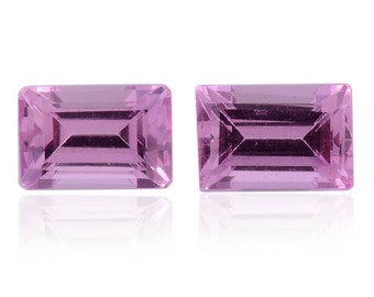Pink Sapphire Synthetic Lab Created Loose Gemstones Set of 2 Octagon Cut 1A Quality 6x4mm TGW 1.30 cts.